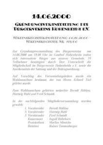 Bekanntmachung der Vereinsgründung